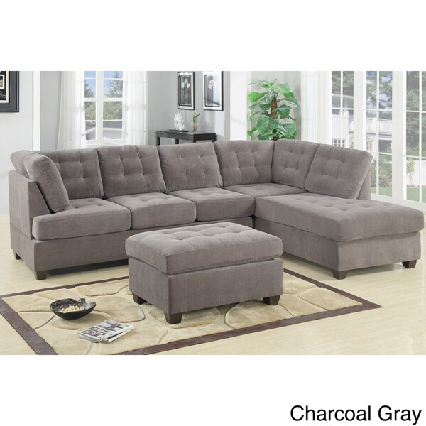 Odessa Waffle Suede Reversible Sectional Sofa With Ottoman Overstock Shopping Big Discounts