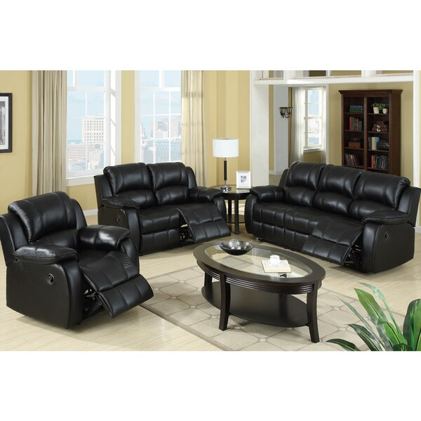 for rovigo reclining living room set in black padded leatherette