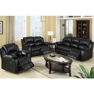 Rovigo Reclining Living Room Set in Black Padded Leatherette
