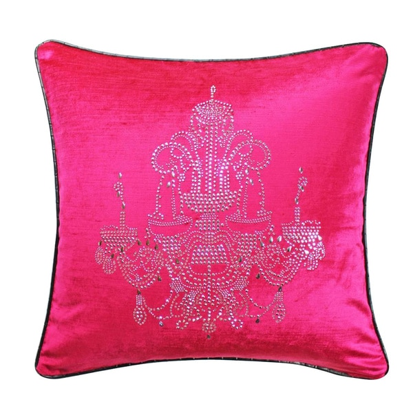 Fuchsia Velvet Rhinestone Chandelier Feather Throw Pillow