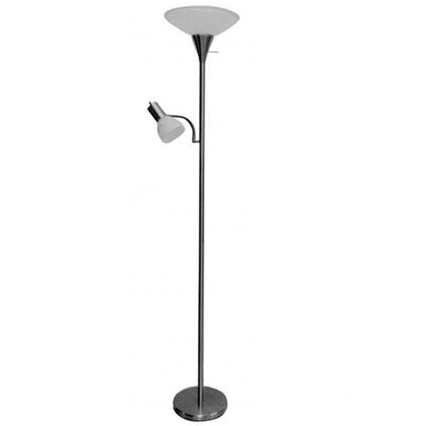Brushed silver torchiere with adjustable reading arm floor lamp