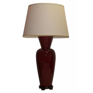 Transitional Dark Red with Black Accent Gloss Finish Table Lamp