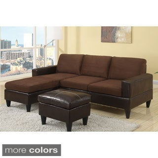 Dunkirk Sectional Couch in 2 tone Microfiber & Faux Leather