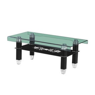 Modern Glass Top Black Coffee Table