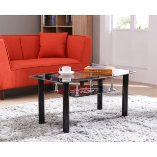Glass Top Black Coffee Table with Lower Shelf