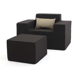 Softblock Black Upholstered Outdoor Foam Chair and Ottoman