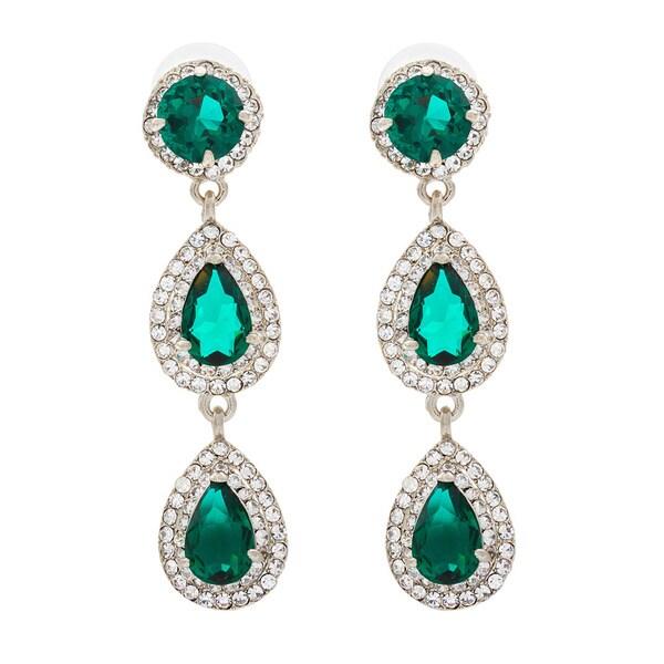 NEXTE Jewelry Red Carpet Triple Tier Emerald Green Dangle Earrings