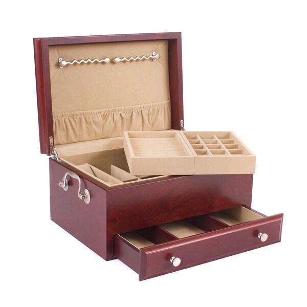 American Chest Contessa Mahogany Wood Jewelry Box