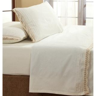 Bella Ruffled Ivory Crochet All Cotton Sheet Set