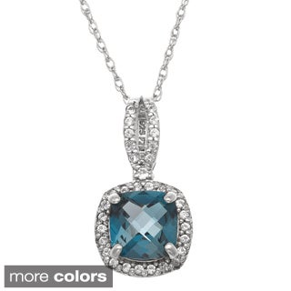 Gioelli Sterling Silver Cushion-cut Gemstone/ Created White Sapphire Necklace