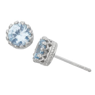 Gioelli Sterling Silver Created Aqua Crown Stud Earrings