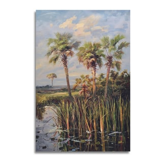Palm Trees in Sunset Gallery-wrapped Canvas Art