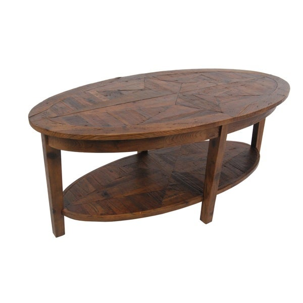 Oval Coffee Table Plans: Alaterre Heritage Reclaimed Wood Oval Coffee Table