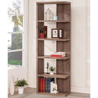 6-tier Distressed Brown Wood Bookshelf/ Display Cabinet