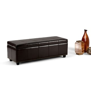 Stanford Collection Dark Brown Bonded Leather Storage Ottoman