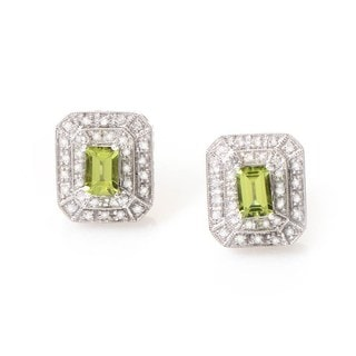 14k White Gold Peridot and Diamond Accent Earrings