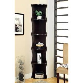 5-tier Cappuccino Corner Bookshelf/ Display Cabinet