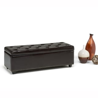 Springfield Collection Dark Brown Tufted Bonded Leather Storage Ottoman