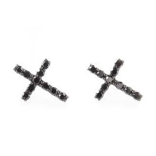10k White Gold 1/5ct TDW Black Diamond Cross Stud Earrings