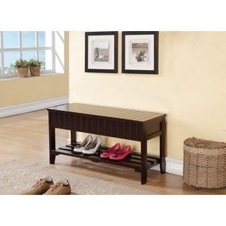 Espresso Solid Wood Storage Shoe Bench Shelf