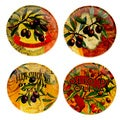 Hand-painted Oli Di Oliva 6-inch Assorted Ceramic Canape Plates (Set of 4)
