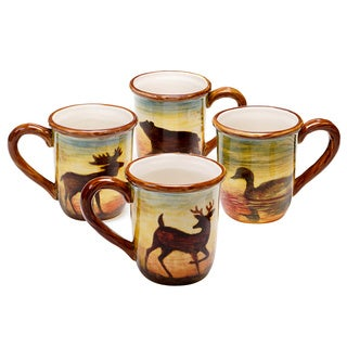 Hand-painted Lakeside Lodge 16-ounce Mug (Set of 4)