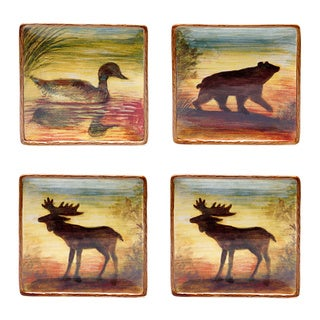 Hand-painted Lakeside Lodge 8.25-inch Salad/ Dessert Plate (Set of 4)