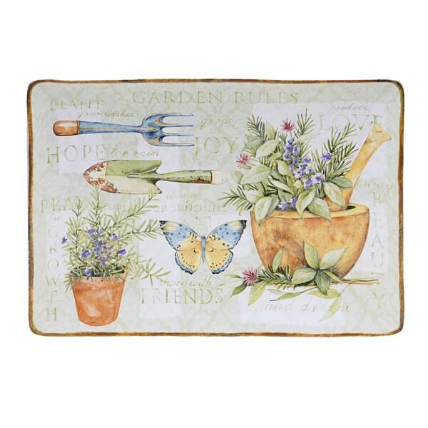 Hand-painted Herb Garden 14-inch Rectangular Ceramic Serving Platter 12974475