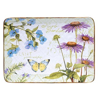 Hand-painted Herb Garden Rectangular Ceramic Serving Platter