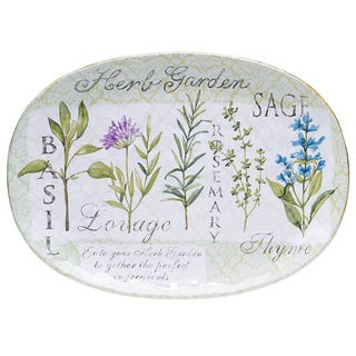Hand-painted Herb Garden Oval Ceramic Serving Platter