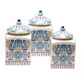 Hand-painted Mood Indigo Ceramic Canisters (Set of 3)