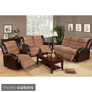 Perpignan Microfiber in Dual Tone Reclining Motion Sofa Set
