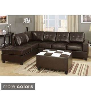 Chandler Bonded Leather Sectional Sofa with Flip-down Console