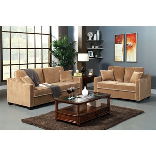 Kiel 2 pieces Sofa Set Featuring Pll-Out Sleeper & Accent Pillows in Beige Fabric