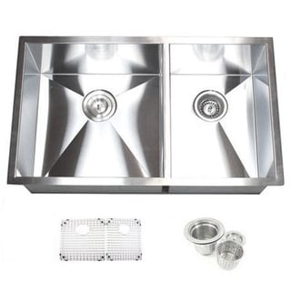 32-inch Double Bowl 60/40 Undermount Zero Radius Kitchen Sink Basket Strainer / Grid Accessories