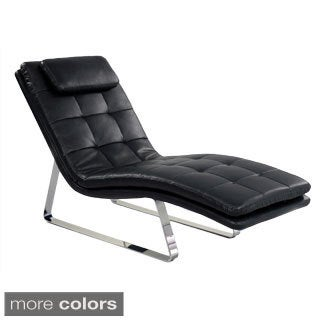Somette Tufted Bonded Leather Chaise Lounge
