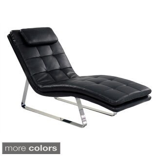 Tufted Bonded Leather Chaise Lounge