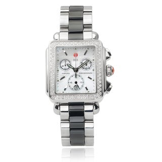 Michele Stainless Steel Deco 6/10 TDW Diamond Chronograph Watch