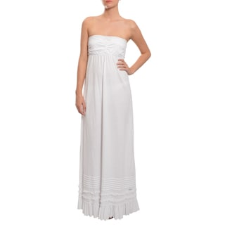 Superdry Women's White Casual Ruffle Maxi Dress