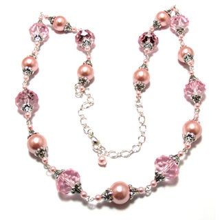 Pink Crystal and Pink Glass Pearl 4-piece Wedding Jewelry Set