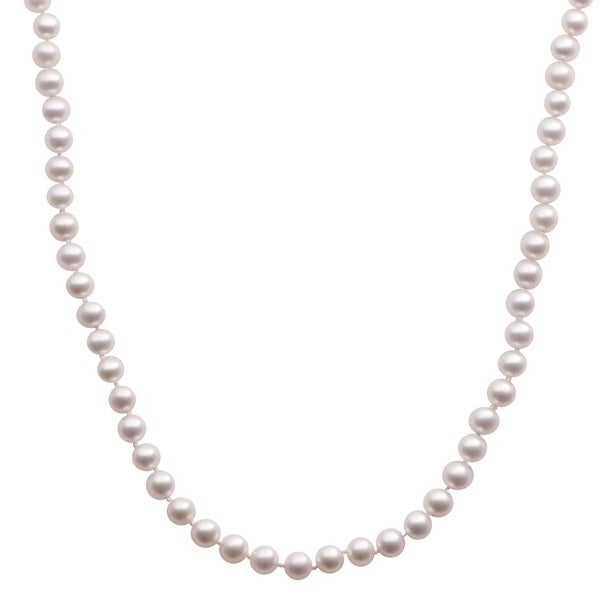 Pearls For You 14k Yellow Gold Light Pink Freshwater Pearl Strand Necklace (6-6.5 mm)