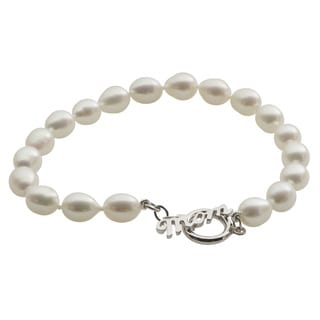 Pearls for You Sterling Silver White Freshwater Pearl Mom Toggle Bracelet (7-7.5 mm)
