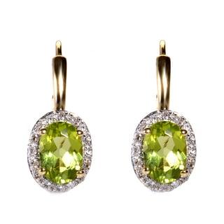 14k Yellow Gold Peridot and Diamond Accent Dangle Earrings
