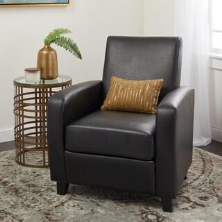 Abbyson Mercer Black Bonded Leather Club Chair