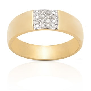 Finesque Gold Over Silver 1/10ct TDW Round-cut Diamond Ring