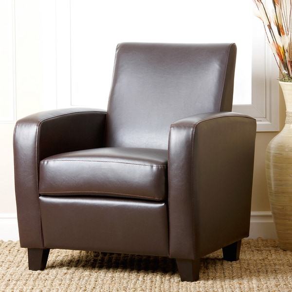 Abbyson Mercer Brown Bonded Leather Club Chair 12975136