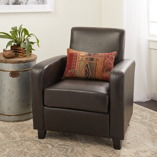 ABBYSON LIVING Dark Brown Mercer Bonded Leather Club Chair