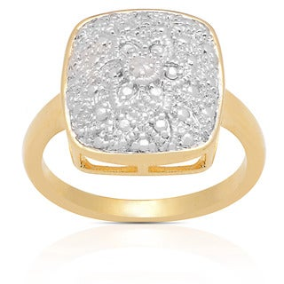 Finesque Gold Overlay Diamond Accent Flower Design Ring