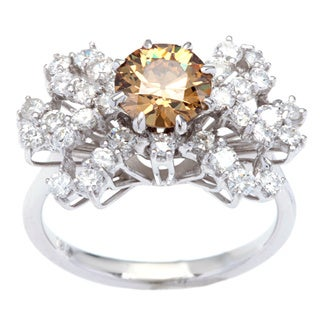 18k White Gold 2 1/4ct Fancy Brown and White Diamond Ring (G-H, SI1-SI2)