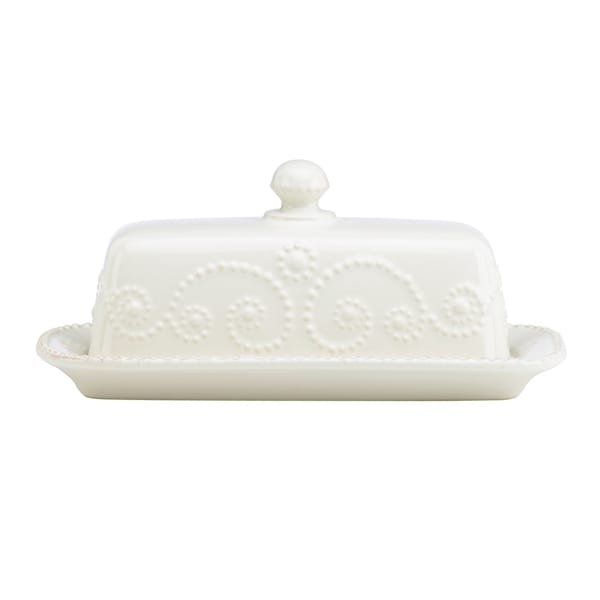 French Perle White Covered Butter Dish